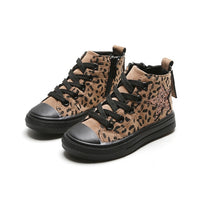 Children's High-top Canvas Shoes 2019 Autumn New Children's Leopard Sneakers Girls Soft Bottom Casual Sneakers
