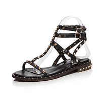 Curvaness Women's Geniune Leather Rivet Flat Sandals Summer Punk Wind Toe Casual Comfortable Gladiator Sandals Plus Size 33-43