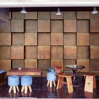 Custom mural  Retro brown wood mural coffee bar Internet cafe clothing shop restaurant decoration stereo square wallpaper mural