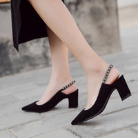 Donna-in Genuine Leather Women High Heels Sexy Crystal Pump Wedding Black Pink Pointed Toe Sandals Fashion Footwear Ladies shoes