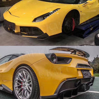Dry Carbon Fiber N Style Body kit Front Lip Flaps Side Skirts Air Vent cover Rear Diffuser Rear Boot Trims for Ferrari 488 GTB