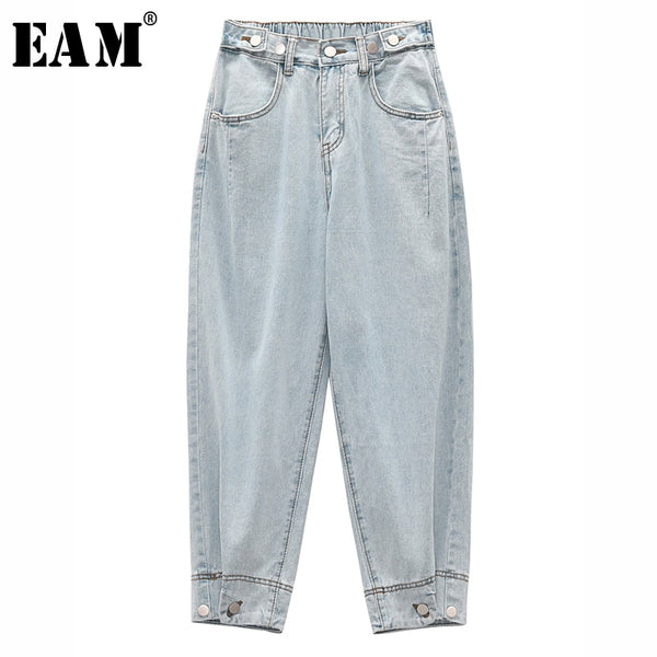 Light Blue Brief Button Split Wide Leg Jeans New High Waist Loose Women Trousers Fashion Tide Spring Autumn 2020 1S256