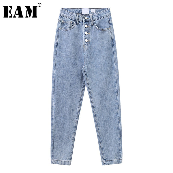Wide Leg Button Split Joint Long Leisure Jeans New High Waist Loose Women Trousers Fashion Tide Spring Autumn 2020 1X237
