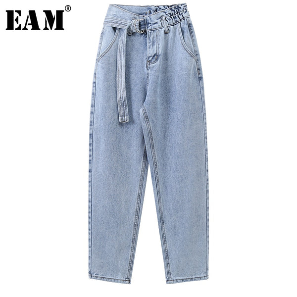 Wide Leg Light Blue Bandage Long Leisure Jeans New High Waist Loose Women Trousers Fashion Tide Spring Autumn 2020 1X232