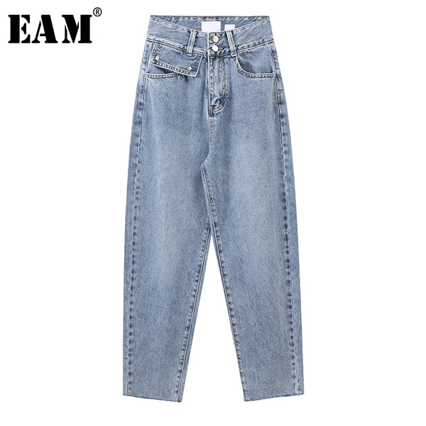 Wide Leg Light Blue Button Split Long Jeans New High Waist Loose Women Trousers Fashion Tide Spring Autumn 2020 1X236