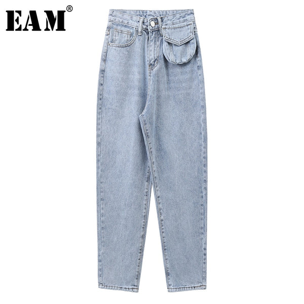 Wide Leg Light Blue Pocket Personality Long Jeans New High Waist Loose Women Trousers Fashion Spring Autumn 2020 1X234