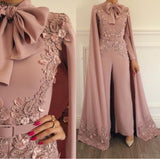 Elegant Muslim Evening Dress 2019 Blush Pink Lace Appliques Beaded Evening Pants Dubai Arabic Long Sleeves Formal Evening Gown