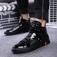 England style mens casual breathable patent leather shoes hip hop oxfords shoe flat platform motorcycle ankle boots zapatos male