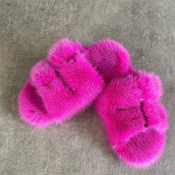 European Station Fashion Fur Slippers Ladies Slippers 100% Mink Fur Slippers Children Girls Slippers