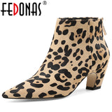 FEDONAS 2020 NEW Style Fashion Women Ankle Boots Pointed Head Woman Ladies Boots Horsehair Party Prom Pumps  Quality Winter Shoe