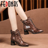 FEDONAS 2020 New Autumn Winter Quality Cow Patent Leather Women Ankle Boots Lace Up High Heels Short Boots Party Shoes Woman
