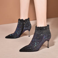FEDONAS Blingbling Crystal Female Chelsea Boots Sexy Thin Heels Party Prom Shoes Woman Newest Women Pointed Toe Ankle Boots