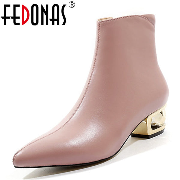 FEDONAS Brand Design Women Warm Autumn Winter Ankle Boots Elegant Party Prom Shoes Woman Pointed Toe Strange Heels Chelsea Boots