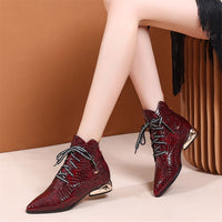 FEDONAS New Animal Prints Genuine Leather Women Ankle Boots Brand Strange Heels Office Party Shoes Woman Winter Chelsea Boots