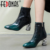 FEDONAS Newest Women Fashion Patent Leather Strange High Heels Ankle Boots Autumn Winter Chelsea Boots Party Prom Shoes Woman