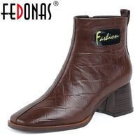 FEDONAS Women High Heels Ankle Boots Winter Square Toe Side Zipper Short Chelsea Boots Retro Genuine Leather Party Shoes Woman