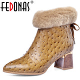 FEDONAS Women Zipper Genuine Leather Ankle Boots Party Office Shoes Woman Warm High Heels Chelsea Boots Big Size Elegant Boots