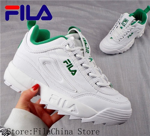 FILA Disruptor II 2 New Men and Women Running Shoes Female Sports white green Shoes Damping Summer Outdoor 36 44