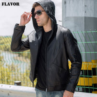 FLAVOR Men's Real Leather Jacket Men Cowhide Leather Coat with Hood