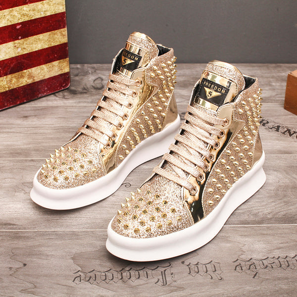Fashion Casual Shoes Mens Solid Rivets High Top Sneakers Bottom Flats Fashion Ankle Lace-Up Shoes Ankle Boots Zapatillas Hombre