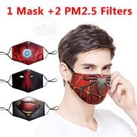 Fashion Marvel Printing Reusable Protective PM2.5 Filter Mouth-Muffle Mask Dust Face mask Winter Anti Bacteria Proof Flu Mask