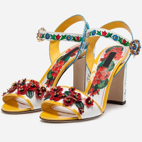 Flower Sandals Shoes Women One Strap Slim Shallow Chunky Square High Heel Footwear Round Toe Ankle Buckle Decor Crystal Sandals
