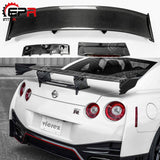 For Nissan R35 GTR Carbon Fiber Rear Spoiler (Included Lights) Nismo Style GT Rear Wing For GTR R35 Body Kit Tuning