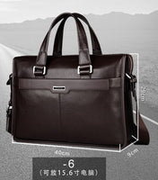 Genuine leather briefcase, 15.6 inch laptop bag, for 15.6 inch notebook computer