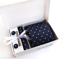 Free Return Return for any reason within 15 days Gift Box Custom Personalized Mens Ties Hankie Cufflinks Sets Neckwear 8cm Dot Cravats Striped Necktie for Men Wedding Party