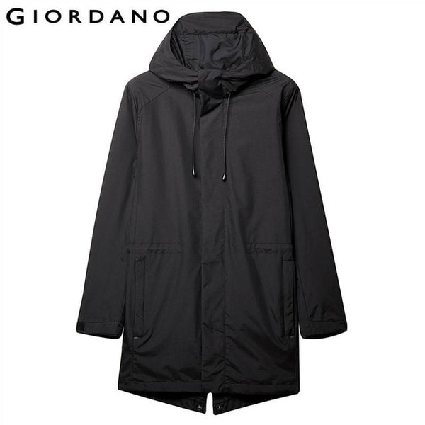 Giordano Men Coat Men Banded-waist Hooded Mid-long Style Windbreaker Men Adjustable Cuffs Swallowtailed Back Hem Windbreakers