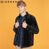 Giordano Men Coats Coral Velvet Stand Collar Coat Zipper Fly Slightly Thick Warm Soft Casaco Masculino 13079822