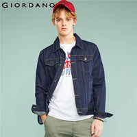 Giordano Men Denim Jacket Men Washed Denim Cargo Jacket Pockets Simple Jaqueta Masculina Turn Down Collar Long Sleeve Jacket
