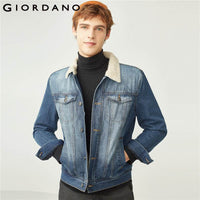 Giordano Men Denim Jacket Thickened Fleeced Lining Denim Jacket Men Keep Warm Turn Down Collar Button Cuffs Jaqueta Masculina
