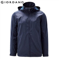 Giordano Men Hooded Windbreaker Adjustable Cuffs Removable Hood  Wind Coat Quality Mesh Ling Branding Clothes