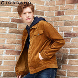 Giordano Men Jacket Corduroy Solid Flap Pockets Jackets Cotton Medium Thickness Casual Jaqueta Masculino 13079820