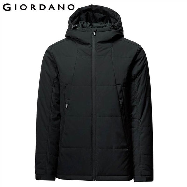 Giordano Men Jacket Men Stand Collar Hooded Quilted Jacket Men Warm For Winter Adjustable Cuffs Zip Pocket Winter Coat Men