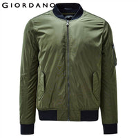 Giordano Men Jacket Thick Warm Bomber Jacket Men Quilted Cotton Mock Neck Bomber Jacket Zip Fly Pocket Casual Jaqueta Masculina