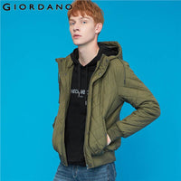 Giordano Men Jackets Argyle Quilted Hooded Bomber Jacet Multi-pocket With Button Casual Jaqueta Masculino 13079807
