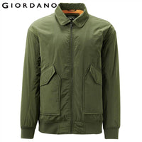 Giordano Men Jackets Flap Pockets Turn-down Collar Quilted Bomber Jacket Slightly Thick Loose Fitting Military Jacket 01079739