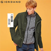 Giordano Men Jackets Graphic Polyester Filled Detachable Overcoat Waterproof Polyester Thick Warm Casacas Para Hombre 01079697
