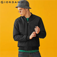 Giordano Men Jackets Stand Collar Slim Fitting Quilted Bomber Jacket Slightly Thick Soft Double Pocket Veste Homme 01079727