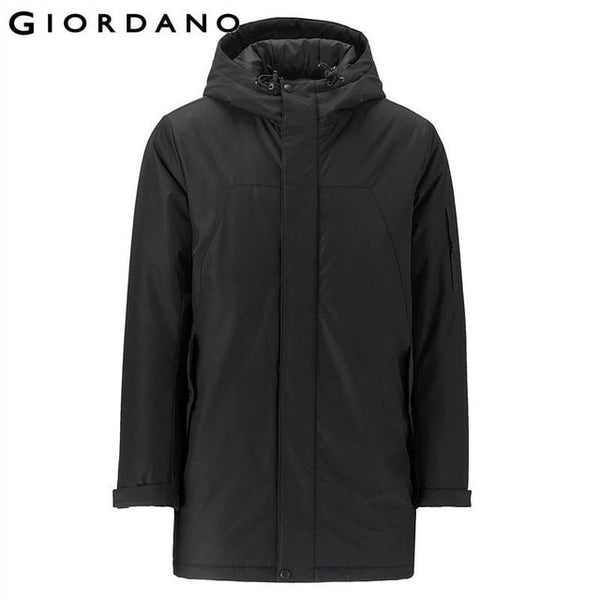 Giordano Men Mid-long Hooded Quilted Coat Men Single Pocket At Chest Swallow-tailed Hem Windbreak Men Durable Fashion Winter Men