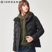 Giordano Women Down Jacket Women 90% Content Grey Goose Down Detachable Down Jacket Hidden Pocket Side Vents Doudoune Femme Warm