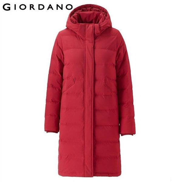 Giordano Women Down Jacket Women Hood Multi-pocket Long Style Down Jacket Women Teflon Coating Machine-washable Chaqueta Mujer