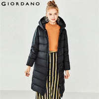 Giordano Women Down Jacket Women Hooded Long Style Down Jacket Women 90% Grey Duck Down Windproof Washable Doudoune Femme Winter