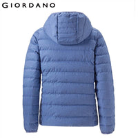 Giordano Women Down Jacket Women Quality 90% White Goose Down Hood Lightweight Down Jacket Well Seams Zip Fly Packable Design