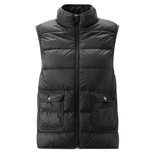 Giordano Women Down Vests Solid Stand Collar Lightweight Down Vest Slant Pockets Durable Warm Sleeveless Doudoune Femme 13379803