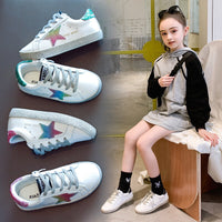 Girls boys White Sneakers Geunine Leather 2019 Autumn Children's Sports Shoes Fashion New Boys Stars Board Shoes Star