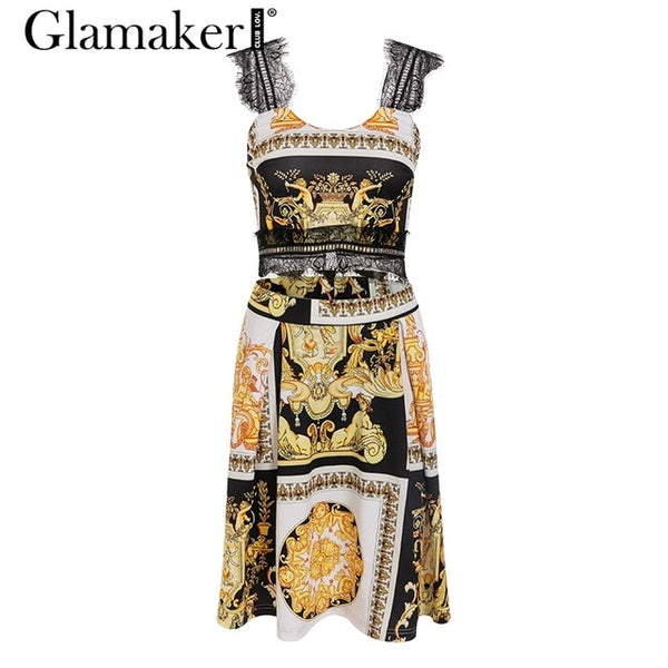 Glamaker Paisley print vintage black women dress Sexy two piece suit elegant party gold dress Summer beach lace patchwork dress