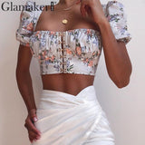 DHL FREE SHIPPING 7-12 days Glamaker Puff sleeve floral print top sexy camis tanks Women summer cropped clothes crop top Female square collar streetwear top